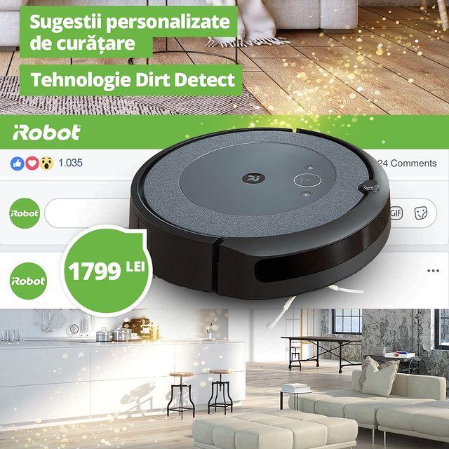 Aspiratorul robot Roomba ® I3 face față oricărui tip de spațiu și este ideal pentru locuințele mari.   Prin tehnologia Dirt Detect ™, Roomba identifică zonele cu multă murdărie pentru a insista asupra lor. ✅  Preț redus: 1799 Lei  #cleaning #cleaninghacks #cleanhouse #cleanhome #curatenie  #cleanhouse #aspirator #irobot #roombacombo