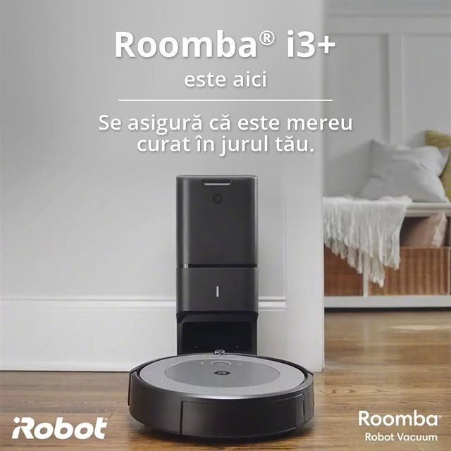 Lasă aspiratorul Roomba ®i3+ să se ocupe de curățenie, cât tu te relaxezi.   Printre funcțiile sale se numără:  ✔️ Filtrul Aeroforce – aspiră și cele mai fine particule de praf  ✔️ Golirea automată a coșului de gunoi în stația de curățare CleanBase ™ ✔️ Control prin aplicația mobilă iRobot HOME   #cleaning #cleaninghacks #cleanhouse #cleanhome #curatenie  #cleanhouse #aspirator #irobot #roombai3plus